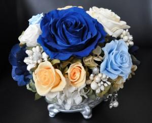 枯れないお花プリザーブドフラワー専門ショップ。こだわりのフラワーギフト承ります。いわもとプリはな。ブルーのオーダー