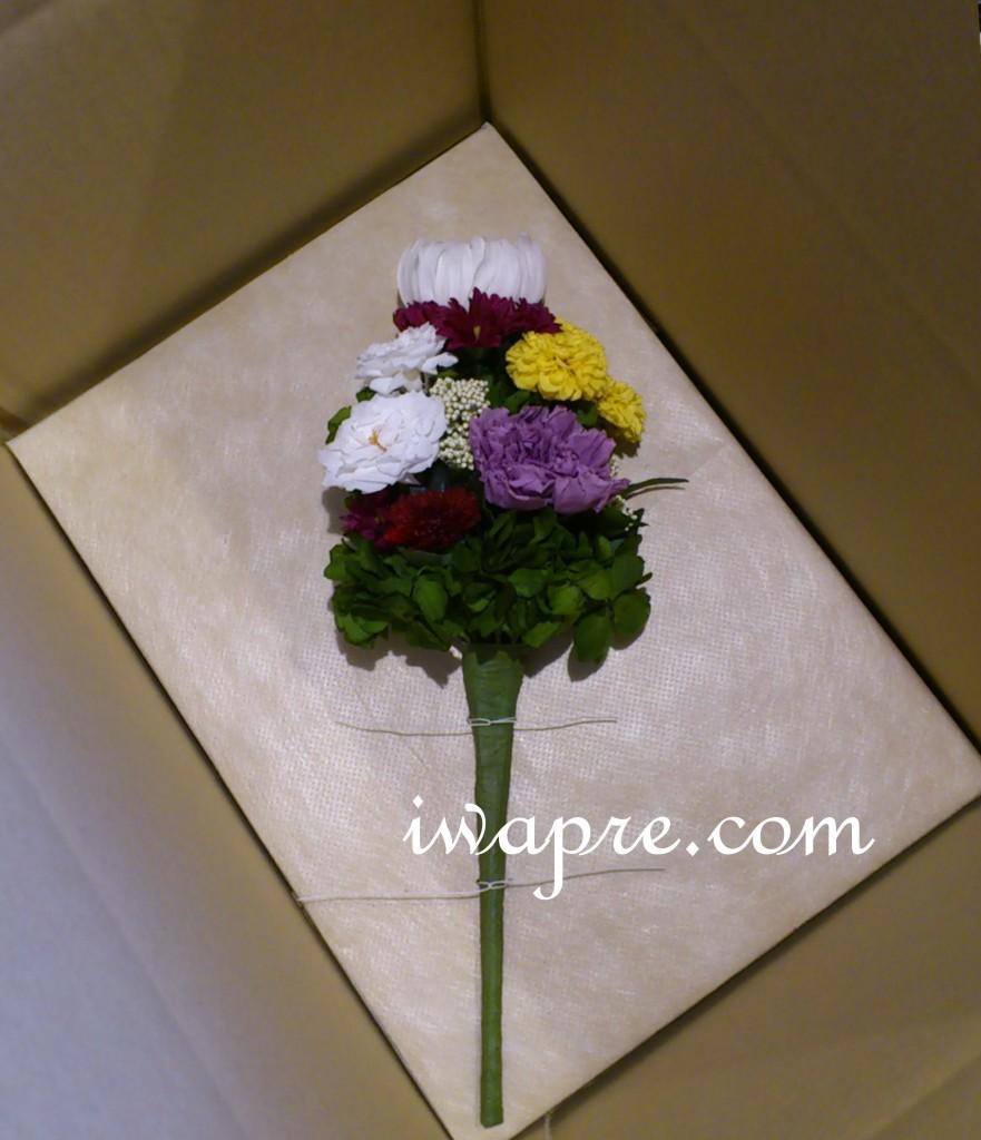 いわもとプリはなのプリザーブドフラワーの仏花です