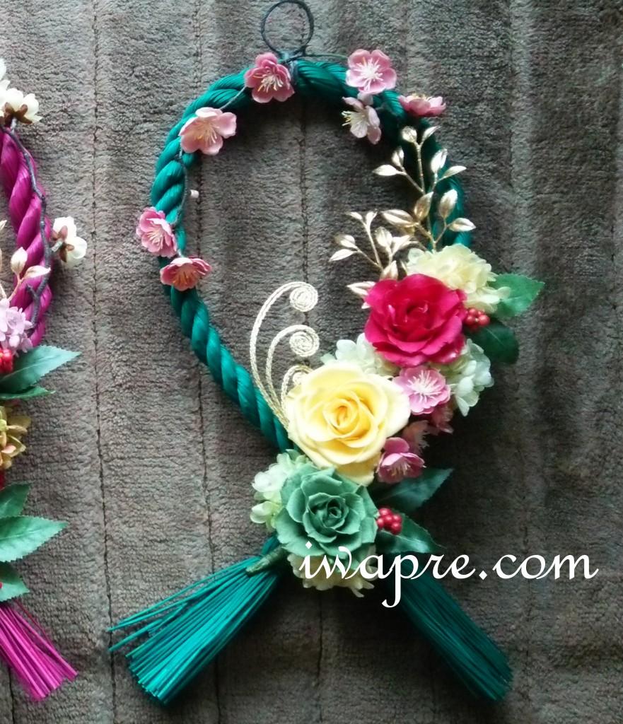 いわもとプリはな プリザーブドフラワーのしめ縄(しめ飾り)カラーの縄が素敵です