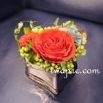 ピンクシルバーのハートの花器
